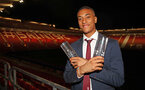 Yan Valery with his awards for Goal of the Season and First Team Young Player of the Year during the 2018/19 Southampton FC Player Awards night, at St Mary's Stadium, Southampton, 7th May 2019