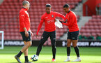 SOUTHAMPTON, ENGLAND - MAY 08: Mario Lemina(centre) and Yan Valery during a Southampton FC open training session at St Mary's Stadium on May 08, 2019 in Southampton, England. (Photo by Matt Watson/Southampton FC via Getty Images)