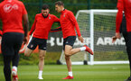 SOUTHAMPTON, ENGLAND - MAY 09: Pierre-Emile Hojbjerg, Jan Bednarek during a Southampton FC training session pictured at Staplewood Training Ground on May 9, 2019 in Southampton, England. (Photo by James Bridle - Southampton FC/Southampton FC via Getty Images)