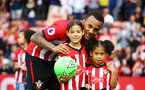 SOUTHAMPTON, ENGLAND - MAY 12: LtoR Ryan Bertrand with his family during the lap of honor for the Premier League match between Southampton FC and Huddersfield Town at St Mary's Stadium on May 12, 2019 in Southampton, United Kingdom. (Photo by James Bridle - Southampton FC/Southampton FC via Getty Images)