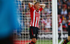SOUTHAMPTON, ENGLAND - MAY 12: James Ward-Prowse after a near miss during the Premier League match between Southampton FC and Huddersfield Town at St Mary's Stadium on May 12, 2019 in Southampton, United Kingdom. (Photo by James Bridle - Southampton FC/Southampton FC via Getty Images)