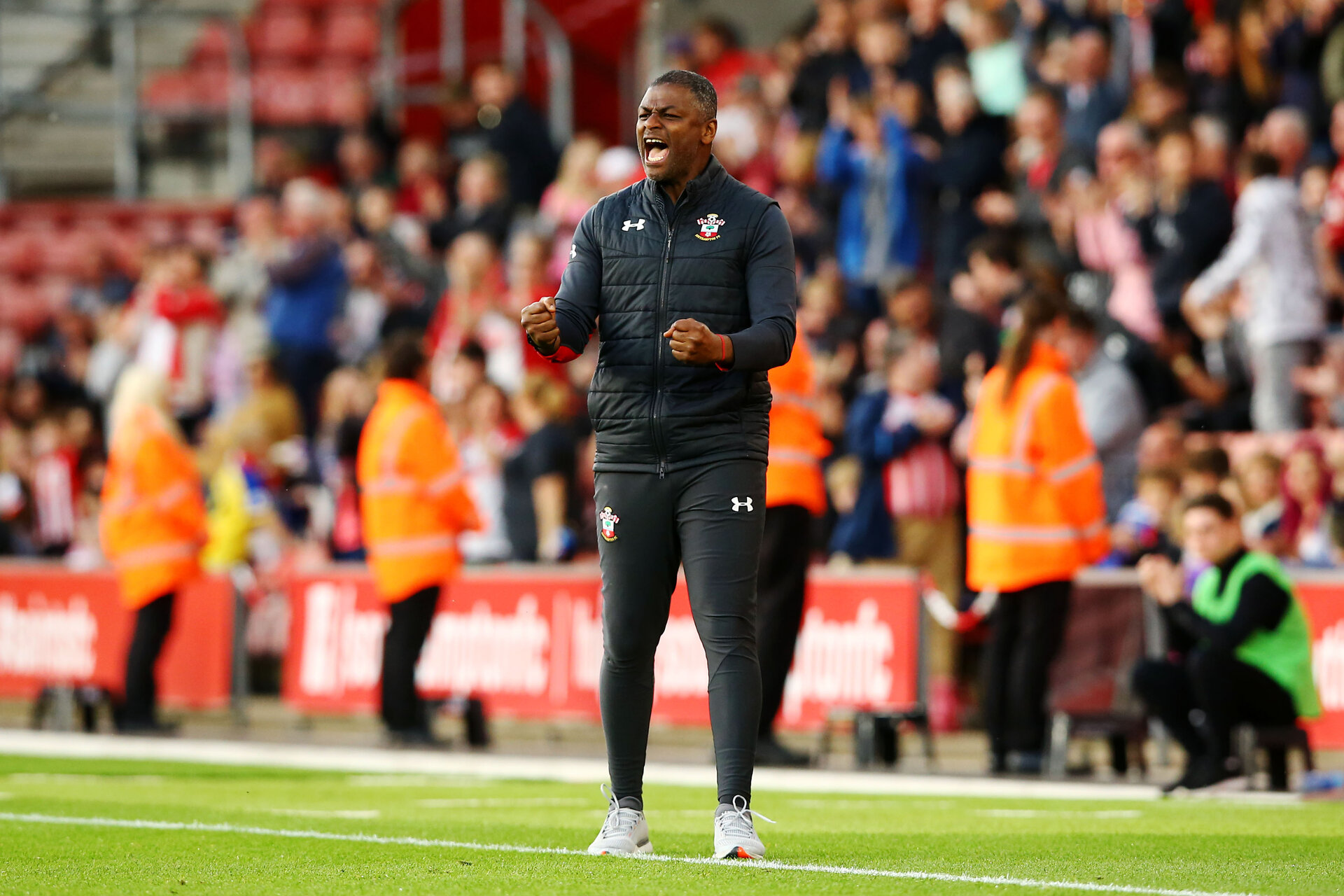 SOUTHAMPTON, ENGLAND - MAY 13: Radhi Jaidi celebrates as Southampton FC score their second goal during the U23s PL2 Play off final between Southampton and Newcastle United pictured at St. Mary's Stadium on May 13, 2019 in Southampton, England. (Photo by James Bridle - Southampton FC/Southampton FC via Getty Images)
