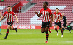 SOUTHAMPTON, ENGLAND - MAY 13: Dan Nlundulu (middle) scores for Southampton FC from a header during the U23s PL2 Play off final between Southampton and Newcastle United pictured at St. Mary's Stadium on May 13, 2019 in Southampton, England. (Photo by James Bridle - Southampton FC/Southampton FC via Getty Images)