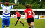 SOUTHAMPTON, ENGLAND - MAY 19: Phoebe Williams scores (middle)  during the Womens Cup Final match between Southampton FC and Oxford pictured at AFC Totten on May 19, 2019 in Southampton, England. (Photo by James Bridle - Southampton FC/Southampton FC via Getty Images)