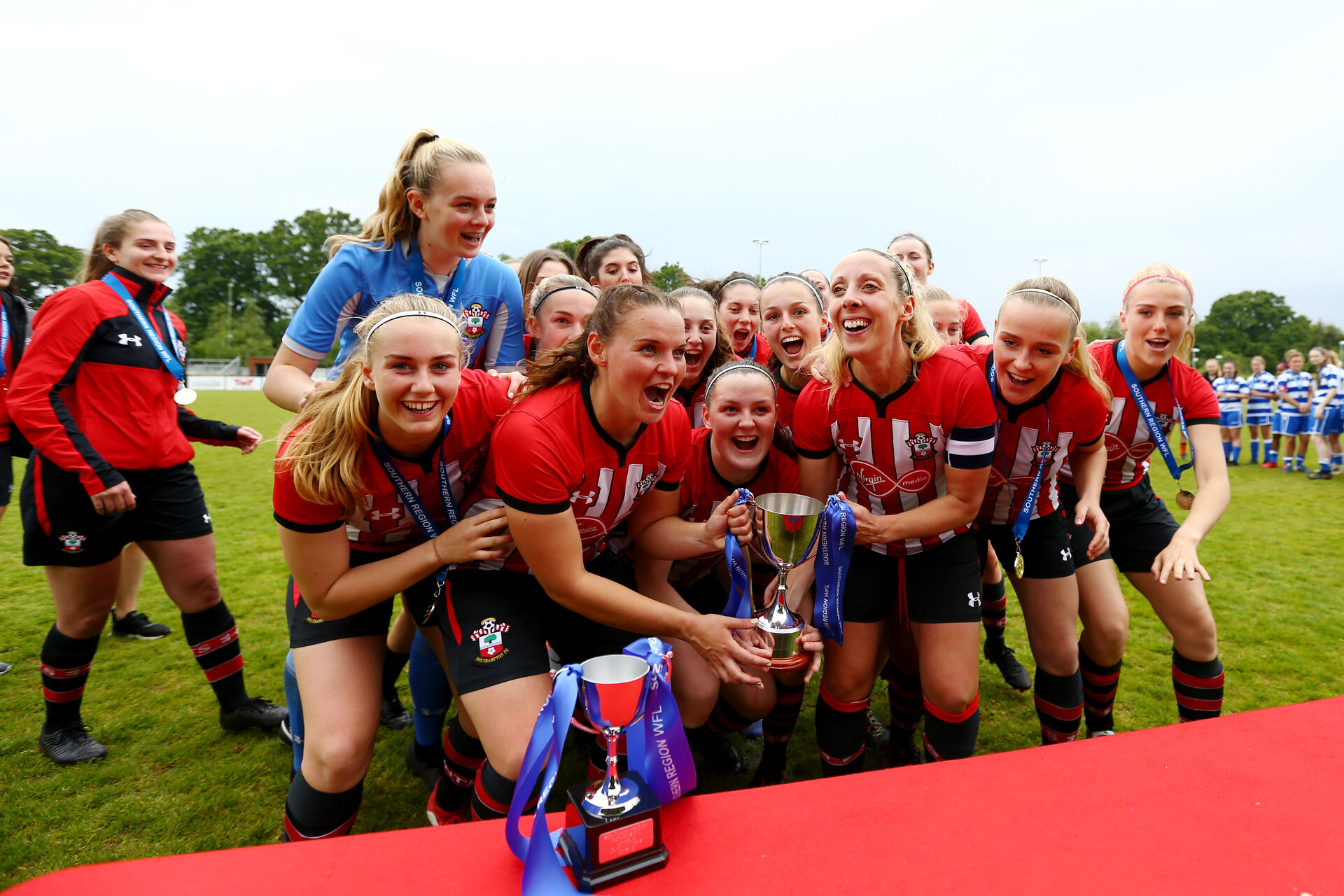 SOUTHAMPTON, ENGLAND - MAY 19: Women's team win and lift the trophy after the Womens Cup Final match between Southampton FC and Oxford pictured at AFC Totten on May 19, 2019 in Southampton, England. (Photo by James Bridle - Southampton FC/Southampton FC via Getty Images)
