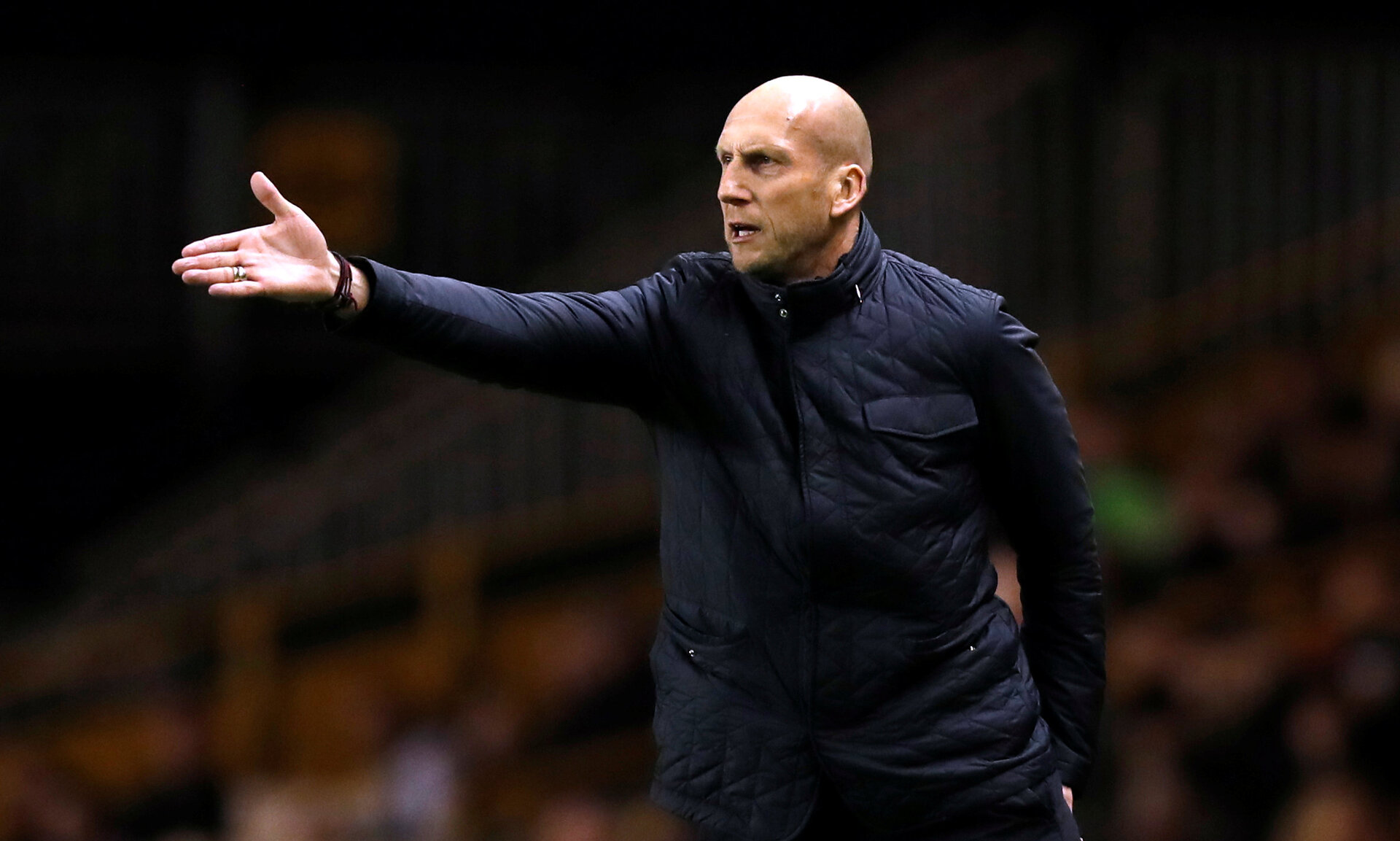 """Soccer Football - Championship - Wolverhampton Wanderers vs Reading - Molineux Stadium, Wolverhampton, Britain - March 13, 2018   Reading manager Jaap Stam gestures   Action Images/Peter Cziborra    EDITORIAL USE ONLY. No use with unauthorized audio, video, data, fixture lists, club/league logos or """"live"""" services. Online in-match use limited to 75 images, no video emulation. No use in betting, games or single club/league/player publications. Please contact your account representative for further details."""
