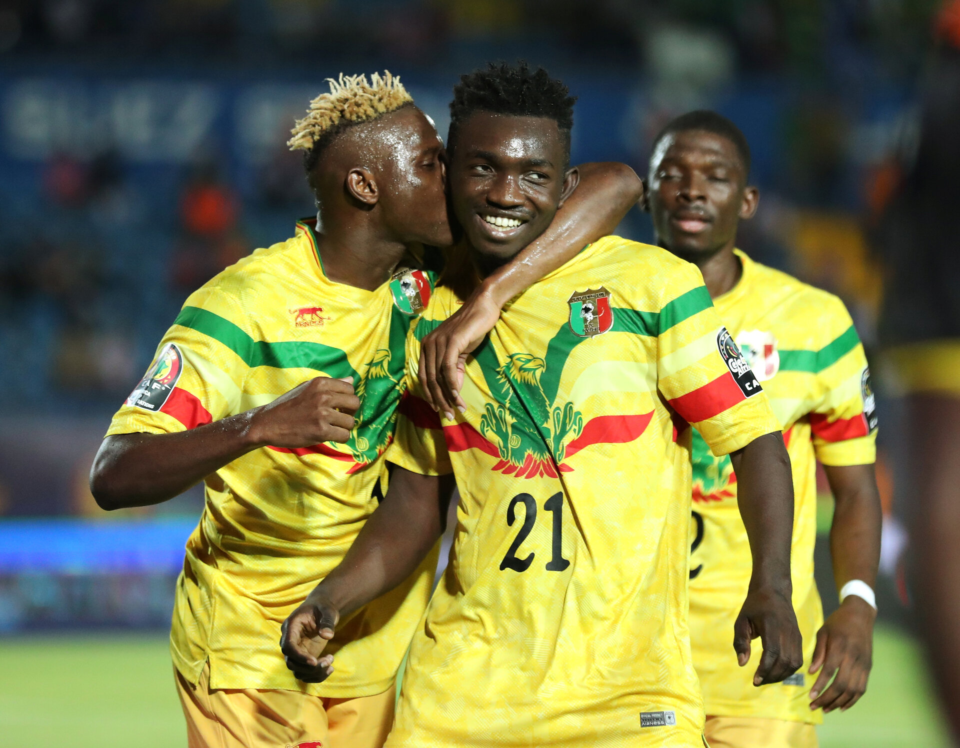 Soccer Football - Africa Cup of Nations 2019 - Group E - Mali v Mauritania - Suez Army Stadium, Suez, Egypt - June 24, 2019  Mali's Adama Traore celebrates scoring their third goal with Moussa Djenepo  REUTERS/Suhaib Salem