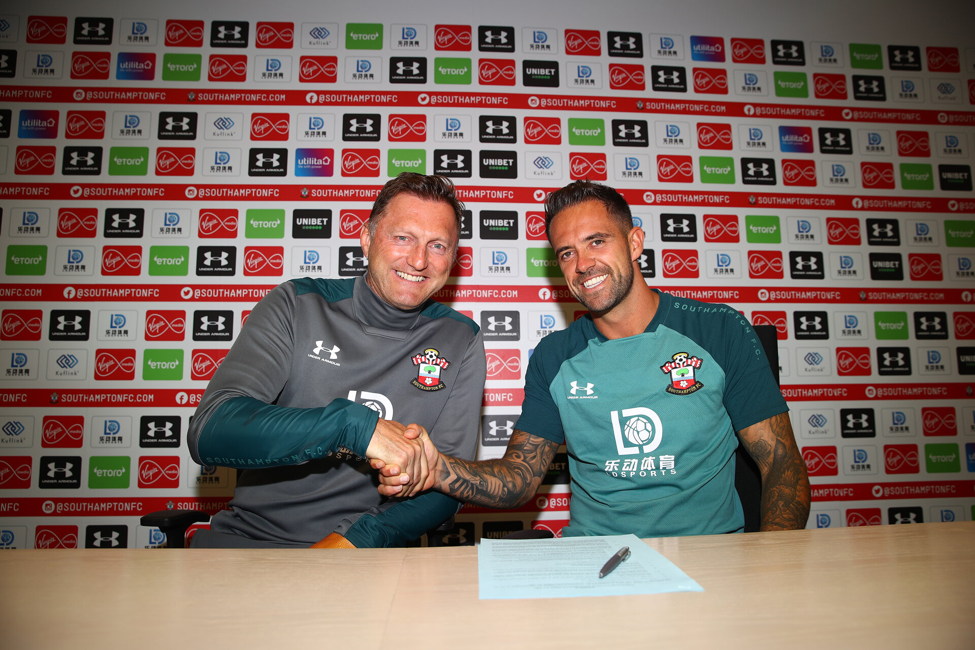 SOUTHAMPTON, ENGLAND - JULY 01: Danny Ings(R) makes his loan deal permanent with Southampton FC, pictured with manager Ralph Hasenhuttl(L) at the Staplewood Campus on July 01, 2019 in Southampton, England. (Photo by Matt Watson/Southampton FC via Getty Images)