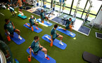 SOUTHAMPTON, ENGLAND - JULY 02: Players warm up in the gym during Southampton FC's second day of pre season training at the Staplewood Campus on July 02, 2019 in Southampton, England. (Photo by Matt Watson/Southampton FC via Getty Images)