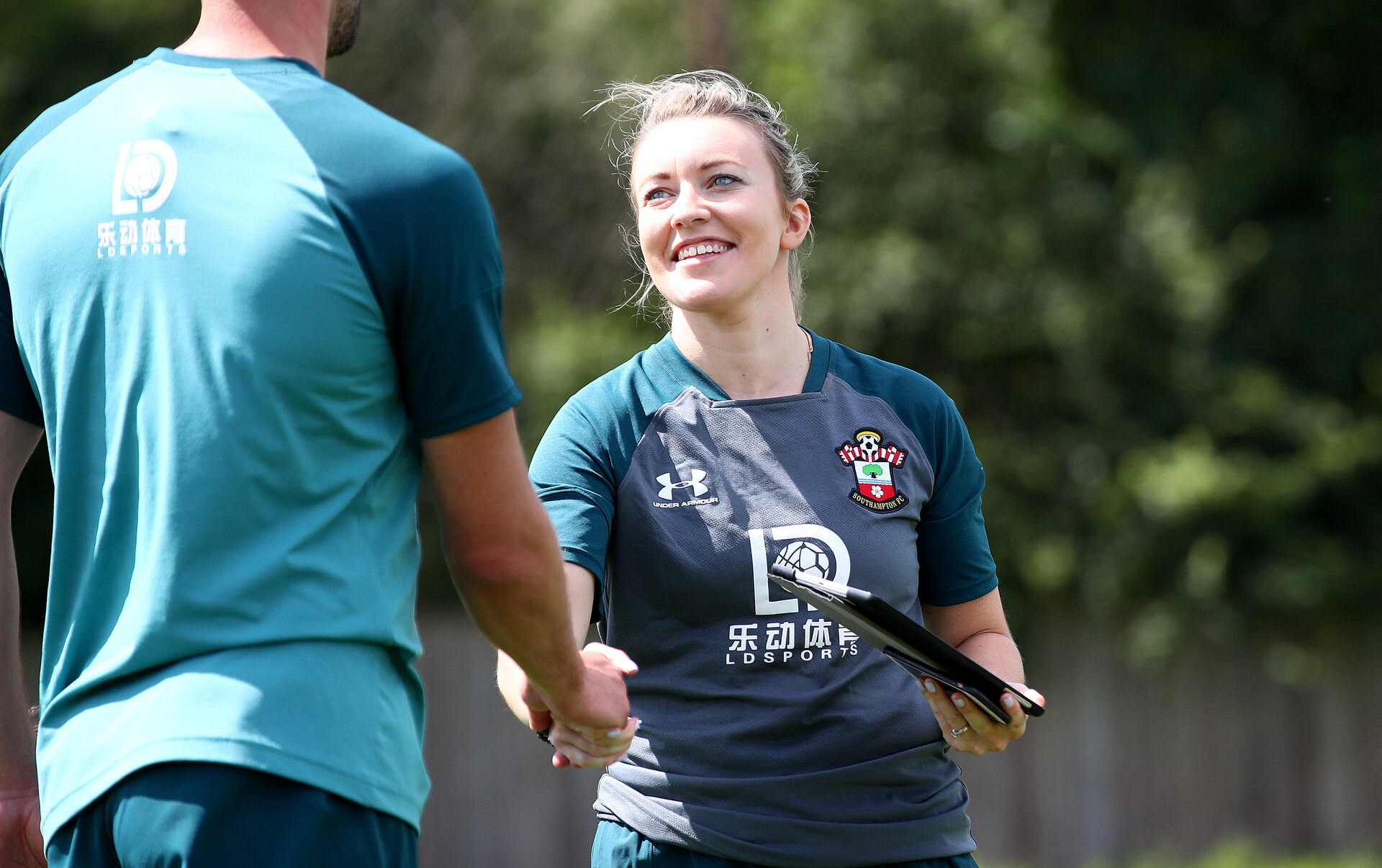 SOUTHAMPTON, ENGLAND - JULY 02: Laura Bowen during Southampton FC's second day of pre season training at the Staplewood Campus on July 02, 2019 in Southampton, England. (Photo by Matt Watson/Southampton FC via Getty Images)