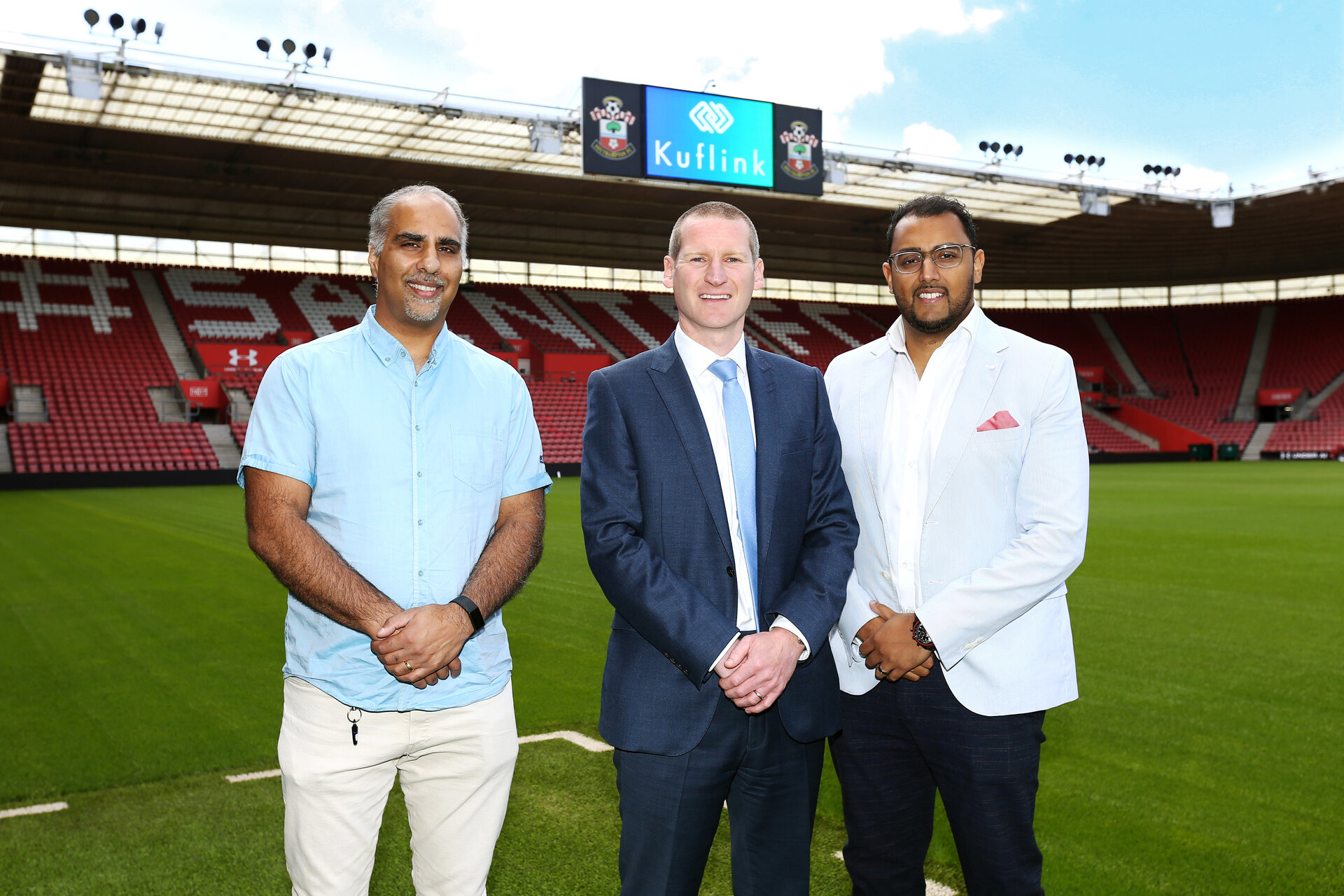 SOUTHAMPTON, ENGLAND - JULY 02:  Managing director Toby Steele greets Kuflinks partnership at St Mary's Stadium pictured on the July 02, 2019 in Southampton, England. (Photo by James Bridle - Southampton FC/Southampton FC via Getty Images)