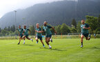 SCHRUNS, AUSTRIA - JULY 09: L to R Wesley Hoedt, Ryan Bertrand, Josh Sims, Nathan Redmond and Jack Stephens during a Southampton FC pre-season training session, on July 09, 2019 in Schruns, Austria. (Photo by Matt Watson/Southampton FC via Getty Images)