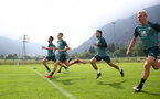 SCHRUNS, AUSTRIA - JULY 09: L to R Maya Yoshida, Will Smallbone, Mohamed Elyounoussi and Christoph Klarer during a Southampton FC pre-season training session, on July 09, 2019 in Schruns, Austria. (Photo by Matt Watson/Southampton FC via Getty Images)
