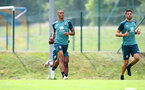 SCHRUNS, AUSTRIA - JULY 09: Yan Valery(L) and Wesley Hoedt during a Southampton FC pre-season training session, on July 09, 2019 in Schruns, Austria. (Photo by Matt Watson/Southampton FC via Getty Images)