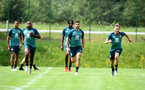 SCHRUNS, AUSTRIA - JULY 09: L to R Michael Obafemi, Shane Long and Jake Vokins during a Southampton FC pre-season training session, on July 09, 2019 in Schruns, Austria. (Photo by Matt Watson/Southampton FC via Getty Images)