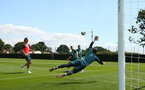 SOUTHAMPTON, ENGLAND - JULY 16: Harry Lewis makes a dive (middle) during a Southampton FC  training session at Staplewood Complex on July 16, 2019 in Southampton, England. (Photo by James Bridle - Southampton FC/Southampton FC via Getty Images)