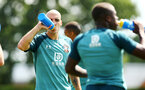 SOUTHAMPTON, ENGLAND - JULY 16: Oriol Romeu (left) during a Southampton FC  training session at Staplewood Complex on July 16, 2019 in Southampton, England. (Photo by James Bridle - Southampton FC/Southampton FC via Getty Images)
