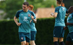SOUTHAMPTON, ENGLAND - JULY 16: Pierre-Emile Hojbjerg (left) during a Southampton FC  training session at Staplewood Complex on July 16, 2019 in Southampton, England. (Photo by James Bridle - Southampton FC/Southampton FC via Getty Images)