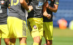 PRESTON, ENGLAND - JULY 20: Will Smallbone (middle)  is knocked to the floor and is helped up by his team mates during the pre-season friendly game between Preston North End and Southampton FC pictured at Deepdale on July 20, 2019 in Preston, England. (Photo by James Bridle - Southampton FC/Southampton FC via Getty Images)