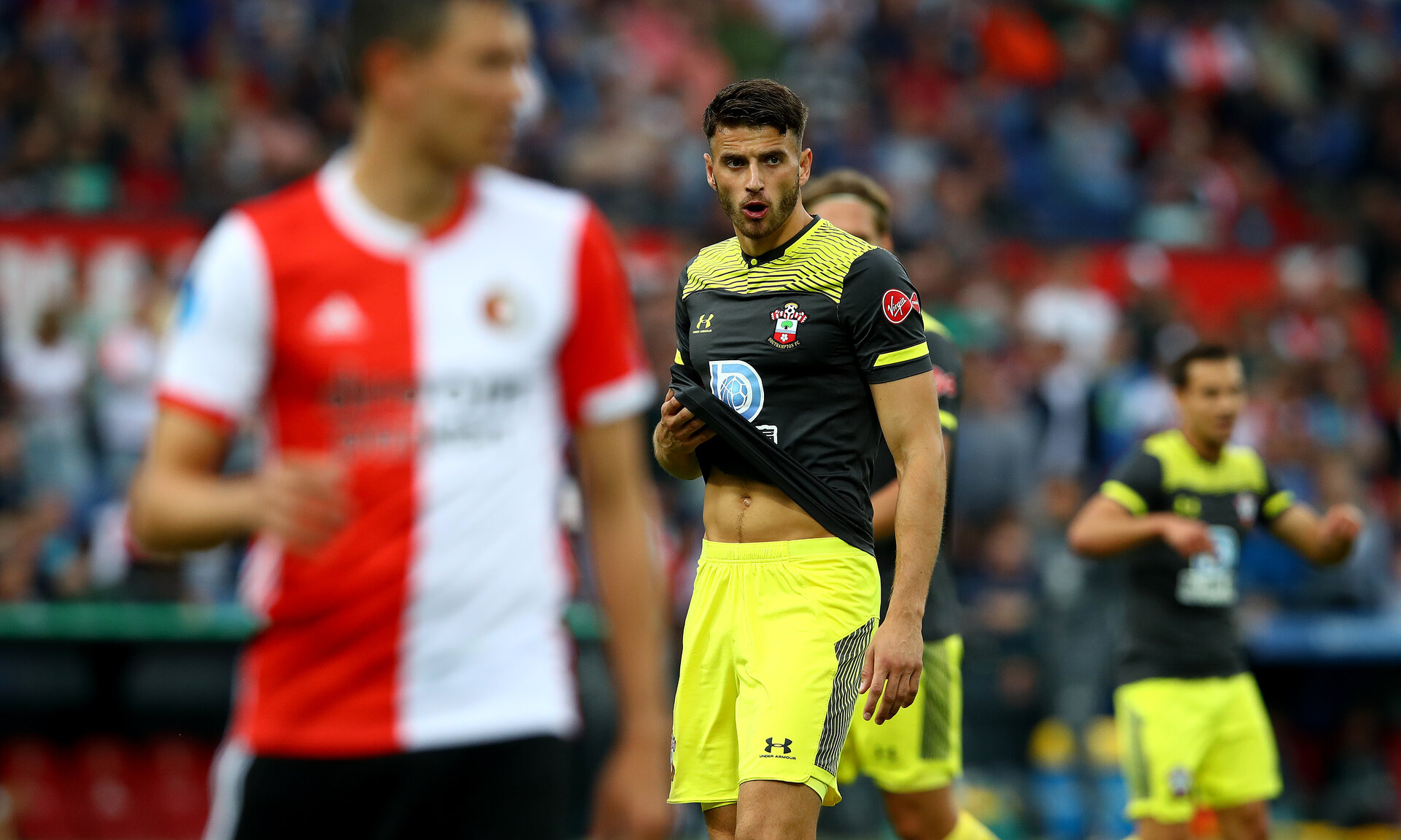 ROTTERDAM, NETHERLANDS - JULY 28: Wesley Hoedt of Southampton during the pre season friendly match between Feyenoord and Southampton FC at De Kuip on July 28, 2019 in Rotterdam, Netherlands. (Photo by Matt Watson/Southampton FC via Getty Images)