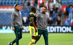 ROTTERDAM, NETHERLANDS - JULY 28: L to R Ché Adams, Michael Obafemi and Danny Ings of Southampton during the pre season friendly match between Feyenoord and Southampton FC at De Kuip on July 28, 2019 in Rotterdam, Netherlands. (Photo by Matt Watson/Southampton FC via Getty Images)