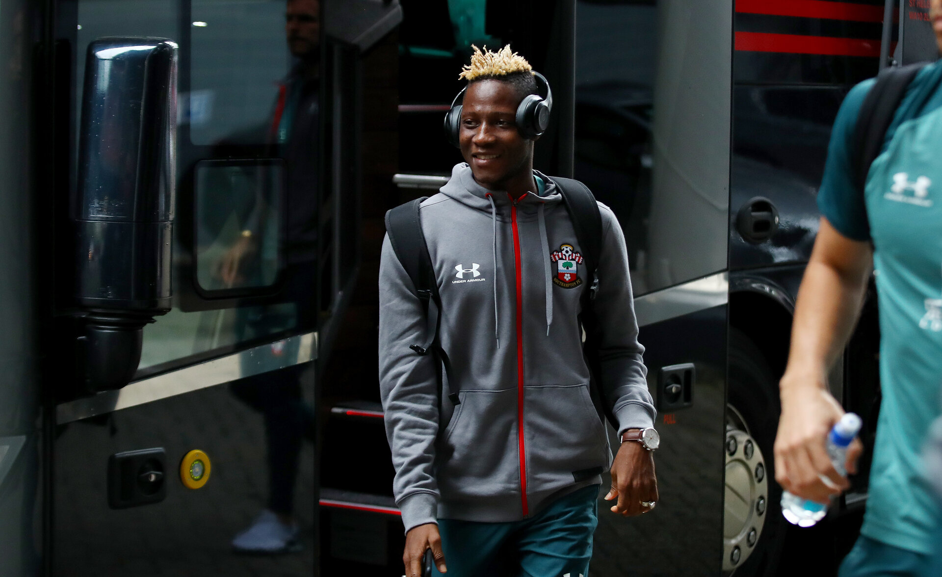 ROTTERDAM, NETHERLANDS - JULY 28: Moussa Djenepo of Southampton arrives ahead of the pre season friendly match between Feyenoord and Southampton FC at De Kuip on July 28, 2019 in Rotterdam, Netherlands. (Photo by Matt Watson/Southampton FC via Getty Images)