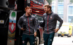 ROTTERDAM, NETHERLANDS - JULY 28: Harrison Reed(L) and Stuart Armstrong of Southampton arrives ahead of the pre season friendly match between Feyenoord and Southampton FC at De Kuip on July 28, 2019 in Rotterdam, Netherlands. (Photo by Matt Watson/Southampton FC via Getty Images)