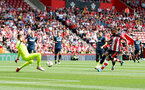 SOUTHAMPTON, ENGLAND - AUGUST 03: Ryan Bertrand of Southampton see's his shot at goal saved during the Pre-Season Friendly match between Southampton FC and FC Köln at St. Mary's Stadium on August 03, 2019 in Southampton, England. (Photo by Matt Watson/Southampton FC via Getty Images,)