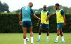 SOUTHAMPTON, ENGLAND - AUGUST 08: Moussa Djenepo (middle) during a first team training session pictured at Staplewood Training Ground on August 06, 2019 in Southampton, England. (Photo by James Bridle - Southampton FC/Southampton FC via Getty Images)