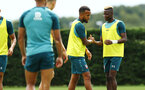 SOUTHAMPTON, ENGLAND - AUGUST 08: LtoR Ryan Bertrand, Moussa Djenepo during a first team training session pictured at Staplewood Training Ground on August 06, 2019 in Southampton, England. (Photo by James Bridle - Southampton FC/Southampton FC via Getty Images)