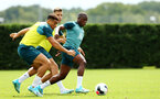 SOUTHAMPTON, ENGLAND - AUGUST 08: Michael Obafemi  (right) during a first team training session pictured at Staplewood Training Ground on August 06, 2019 in Southampton, England. (Photo by James Bridle - Southampton FC/Southampton FC via Getty Images)