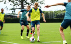 SOUTHAMPTON, ENGLAND - AUGUST 08: LtoR Jake Vokins challenges Stuart Armstrong during a first team training session pictured at Staplewood Training Ground on August 06, 2019 in Southampton, England. (Photo by James Bridle - Southampton FC/Southampton FC via Getty Images)