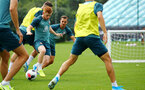 SOUTHAMPTON, ENGLAND - AUGUST 08: Harry Reed (middle)  during a first team training session pictured at Staplewood Training Ground on August 06, 2019 in Southampton, England. (Photo by James Bridle - Southampton FC/Southampton FC via Getty Images)