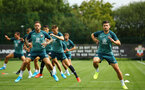 SOUTHAMPTON, ENGLAND - AUGUST 08: Shane Long (right) during a first team training session pictured at Staplewood Training Ground on August 06, 2019 in Southampton, England. (Photo by James Bridle - Southampton FC/Southampton FC via Getty Images)