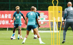 SOUTHAMPTON, ENGLAND - AUGUST 08: Moussa Djenepo (left) during a first team training session pictured at Staplewood Training Ground on August 06, 2019 in Southampton, England. (Photo by James Bridle - Southampton FC/Southampton FC via Getty Images)