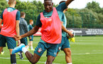 SOUTHAMPTON, ENGLAND - AUGUST 07: Moussa Djenepo during a Southampton FC training session pictured at Staplewood Training Ground on August 07, 2019 in Southampton, England. (Photo by James Bridle - Southampton FC/Southampton FC via Getty Images)