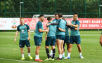 SOUTHAMPTON, ENGLAND - AUGUST 07: Green team win during a Southampton FC training session pictured at Staplewood Training Ground on August 07, 2019 in Southampton, England. (Photo by James Bridle - Southampton FC/Southampton FC via Getty Images)