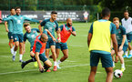 SOUTHAMPTON, ENGLAND - AUGUST 07: LtoR Jake Vokins, Oriol Romeu, Shane Long, Nathan Redmond during a Southampton FC training session pictured at Staplewood Training Ground on August 07, 2019 in Southampton, England. (Photo by James Bridle - Southampton FC/Southampton FC via Getty Images)