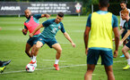 SOUTHAMPTON, ENGLAND - AUGUST 07: LtoR Nathan Redmond, Shane Long during a Southampton FC training session pictured at Staplewood Training Ground on August 07, 2019 in Southampton, England. (Photo by James Bridle - Southampton FC/Southampton FC via Getty Images)