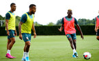 SOUTHAMPTON, ENGLAND - AUGUST 07: Moussa Djenepo (right) during a Southampton FC training session pictured at Staplewood Training Ground on August 07, 2019 in Southampton, England. (Photo by James Bridle - Southampton FC/Southampton FC via Getty Images)