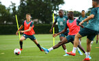 SOUTHAMPTON, ENGLAND - AUGUST 07: LtoR Michael Obafemi, Moussa Djenepo during a Southampton FC training session pictured at Staplewood Training Ground on August 07, 2019 in Southampton, England. (Photo by James Bridle - Southampton FC/Southampton FC via Getty Images)