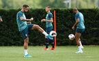 SOUTHAMPTON, ENGLAND - AUGUST 07: Danny Ings (left) during a Southampton FC training session pictured at Staplewood Training Ground on August 07, 2019 in Southampton, England. (Photo by James Bridle - Southampton FC/Southampton FC via Getty Images)