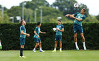 SOUTHAMPTON, ENGLAND - AUGUST 07: Jan Bednarek (right) during a Southampton FC training session pictured at Staplewood Training Ground on August 07, 2019 in Southampton, England. (Photo by James Bridle - Southampton FC/Southampton FC via Getty Images)