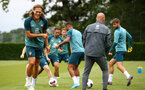SOUTHAMPTON, ENGLAND - AUGUST 08: Jannik Vestergaard (left) during a Southampton FC Training Session pictured at Staplewood Training Ground on August 08, 2019 in Southampton, England. (Photo by James Bridle - Southampton FC/Southampton FC via Getty Images)