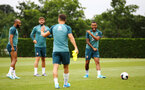 SOUTHAMPTON, ENGLAND - AUGUST 08: Ryan Bertrand (right) during a Southampton FC Training Session pictured at Staplewood Training Ground on August 08, 2019 in Southampton, England. (Photo by James Bridle - Southampton FC/Southampton FC via Getty Images)