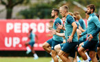 SOUTHAMPTON, ENGLAND - AUGUST 08: James Ward-Prowse (middle) during a Southampton FC Training Session pictured at Staplewood Training Ground on August 08, 2019 in Southampton, England. (Photo by James Bridle - Southampton FC/Southampton FC via Getty Images)