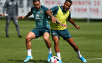 SOUTHAMPTON, ENGLAND - AUGUST 13: Danny Ings(L) and Ryan Bertrand during a Southampton FC training session at the Staplewood Campus on August 13, 2019 in Southampton, England. (Photo by Matt Watson/Southampton FC via Getty Images)
