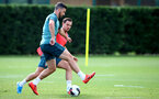 SOUTHAMPTON, ENGLAND - AUGUST 13: Shane Long(L) and Cedric Soares during a Southampton FC training session at the Staplewood Campus on August 13, 2019 in Southampton, England. (Photo by Matt Watson/Southampton FC via Getty Images)