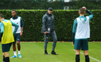 SOUTHAMPTON, ENGLAND - AUGUST 14: Ralph Hasenhuttl (middle)  during a Southampton FC Training session pictured on August 14, 2019 in Southampton, England. (Photo by James Bridle - Southampton FC/Southampton FC via Getty Images)