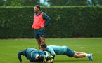 SOUTHAMPTON, ENGLAND - AUGUST 14: Che Adams Cedric Soares, complete push ups during a Southampton FC Training session pictured on August 14, 2019 in Southampton, England. (Photo by James Bridle - Southampton FC/Southampton FC via Getty Images)